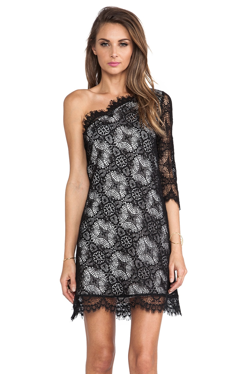 Alexis Richards One Shoulder Crochet Dress in Black Crochet