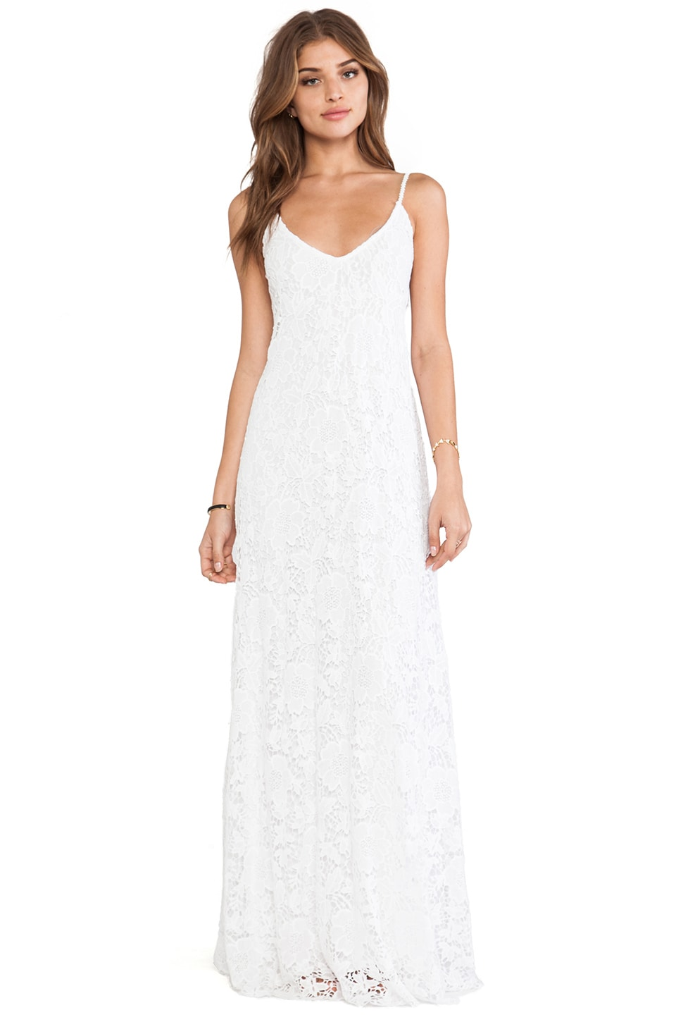 Alexis Kellis Crocheted Maxi Dress in White Crochet
