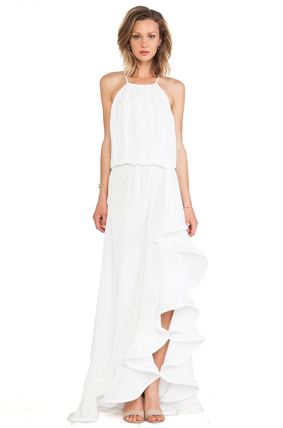 Alexis Mickael Ruffle Maxi Dress in Ivory