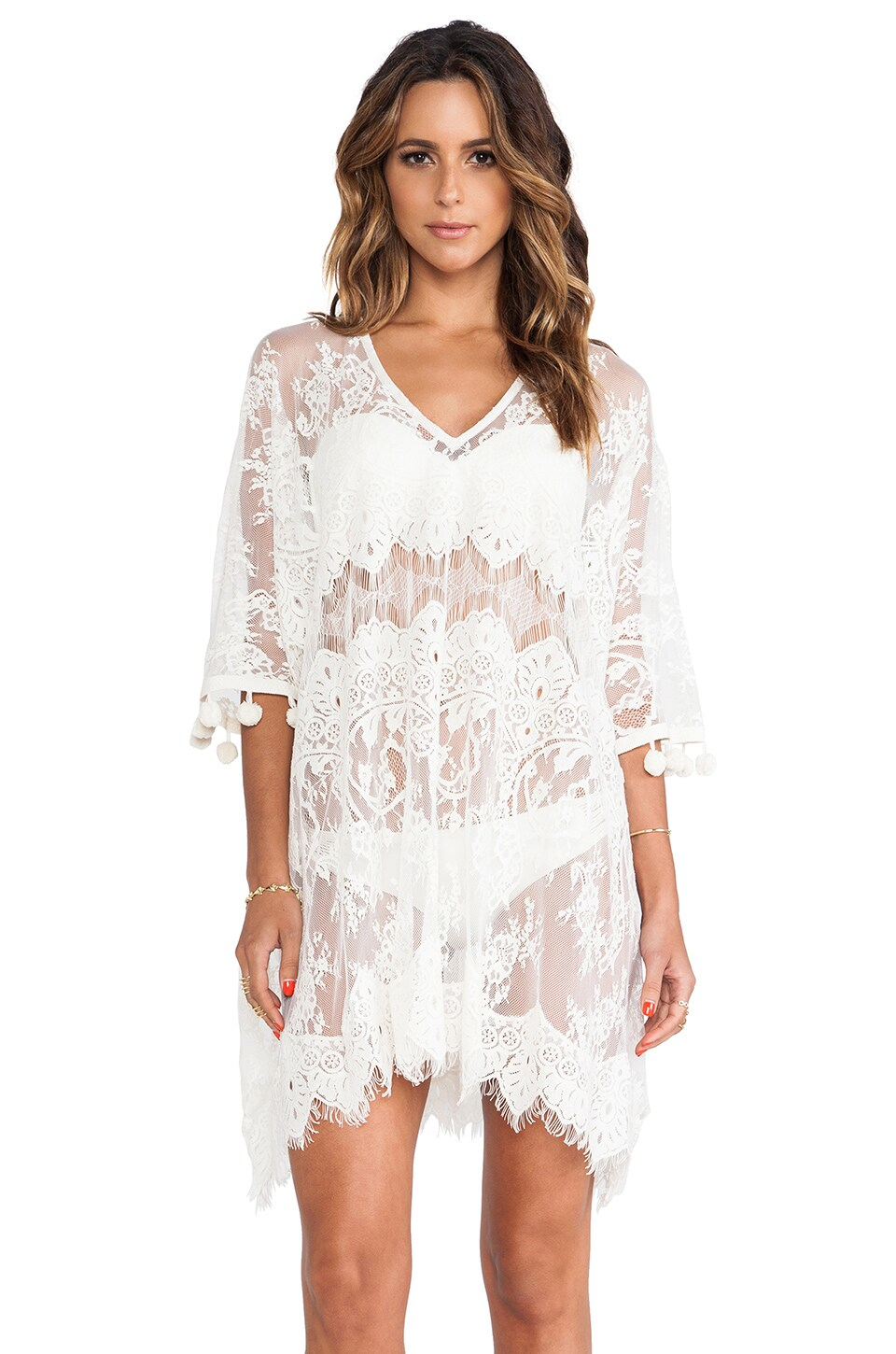Alexis Minn Pom Pom Caftan Dress in Cream Lace