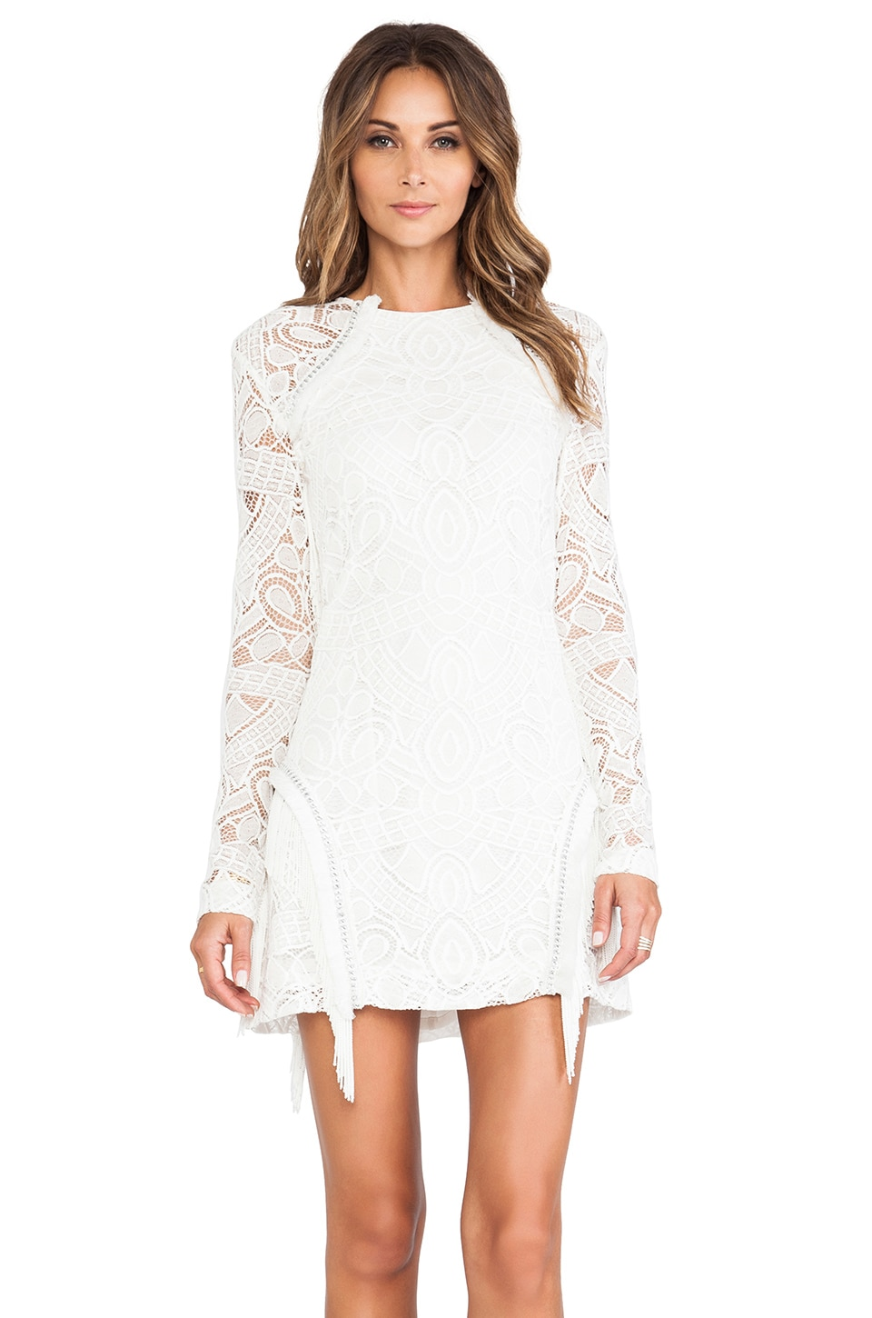Alexis Darya Fringe Detail Dress in White Lace