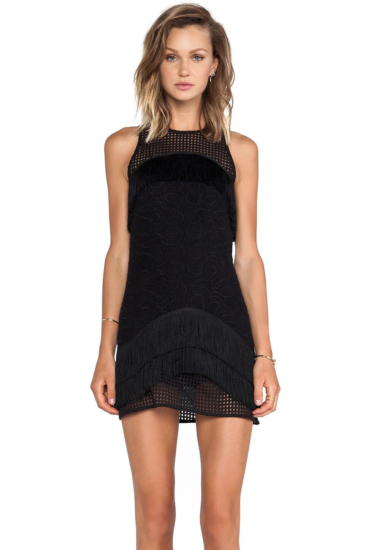 Alexis Tarazon Fringe Detail Mini Dress in Black