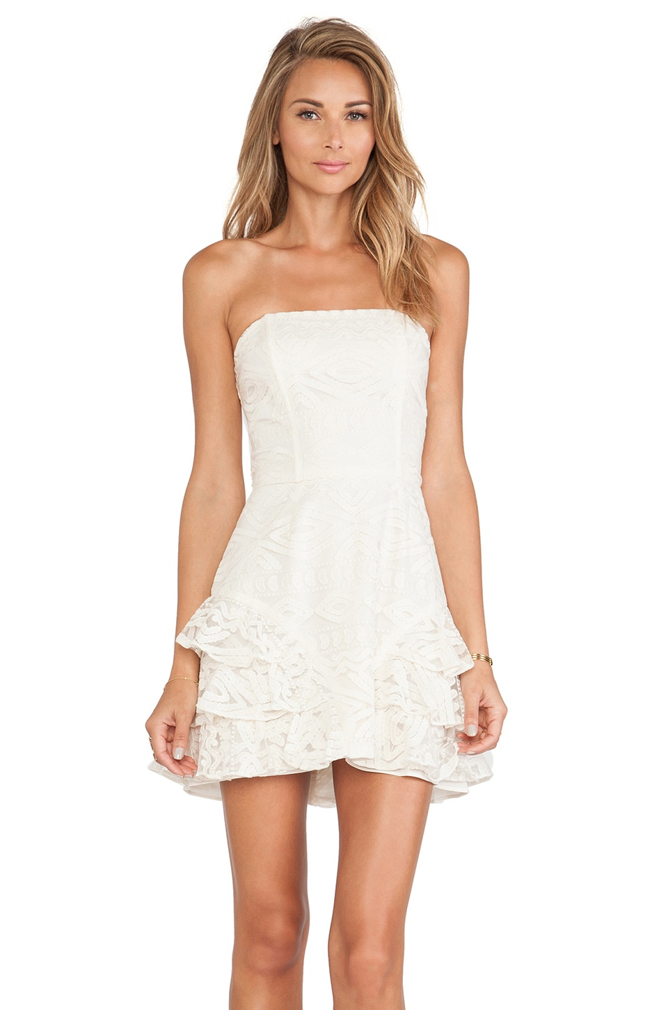 Alexis Razzoli Ruffled Lace Dress in Sandy Abstract