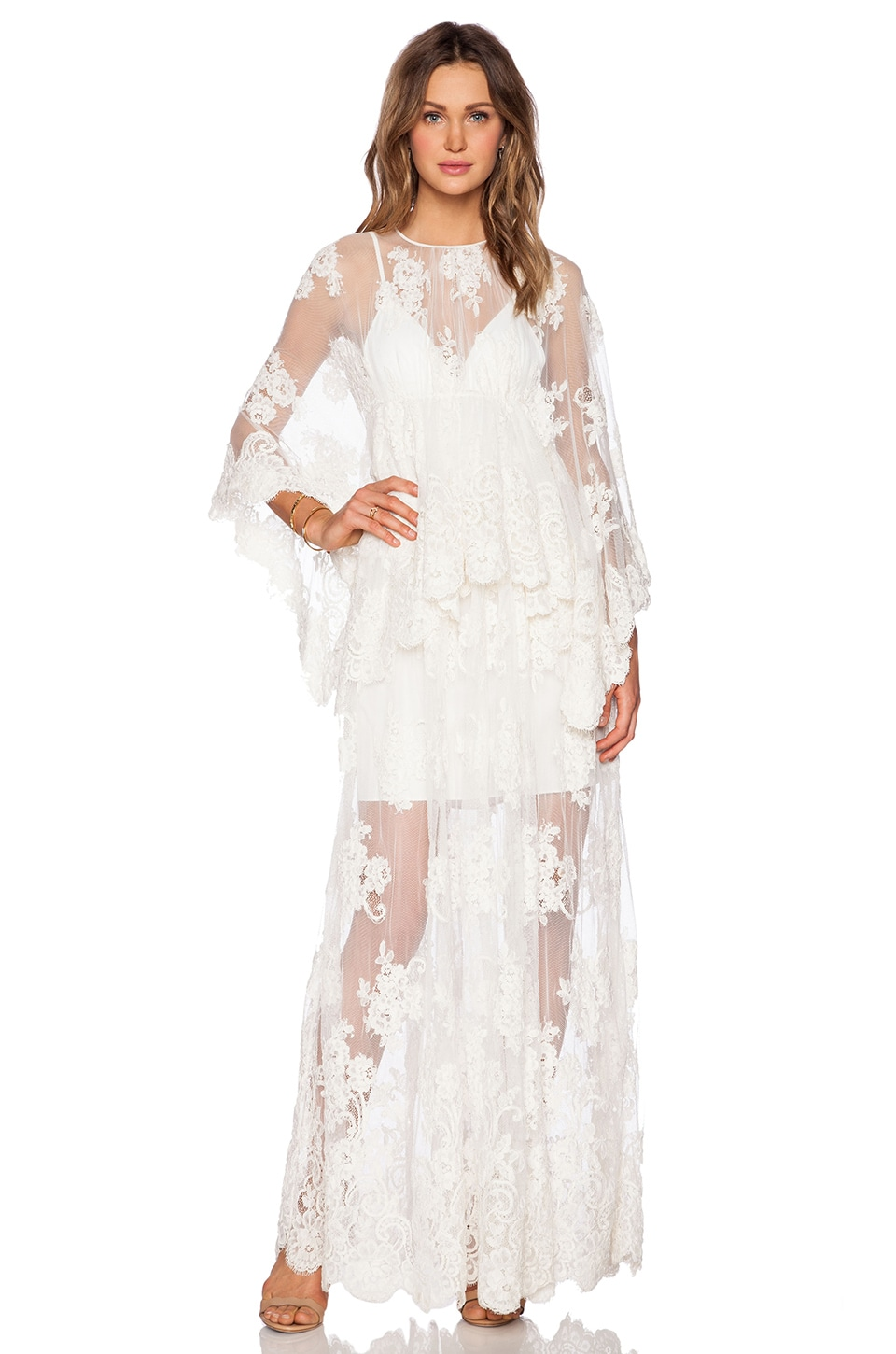 Alexis Lacey Lace Maxi Dress in Cream Embroidery