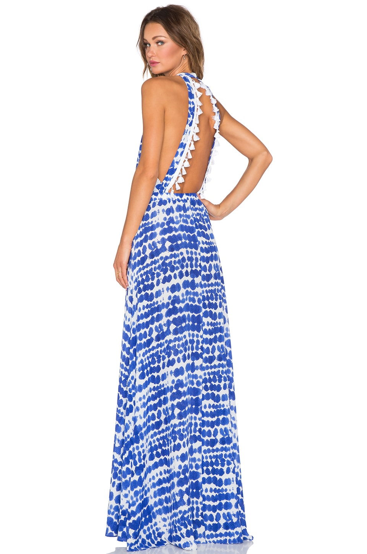 Alexis Wyatt Cut Out Maxi Dress in Blue & White