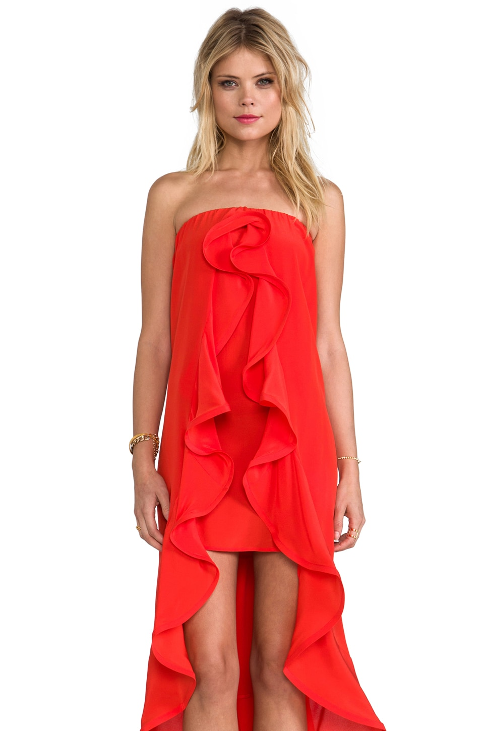 Alexis Musa Dress With Ruffles in Red Orange