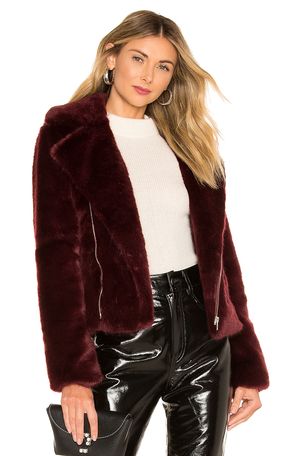 Alexis Shura Faux Fur Jacket in Burgundy