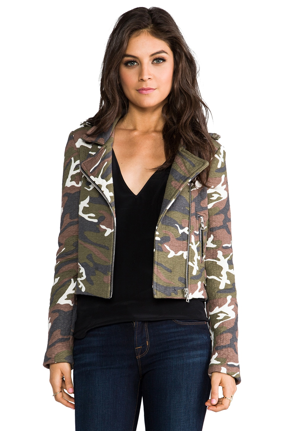 Alexis JP Biker Jacket in Quilted Camouflage