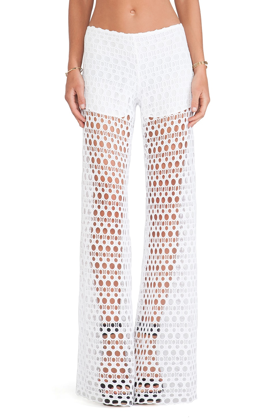 Alexis Madrid Wide Leg Crochet Pants in Ecliptic White