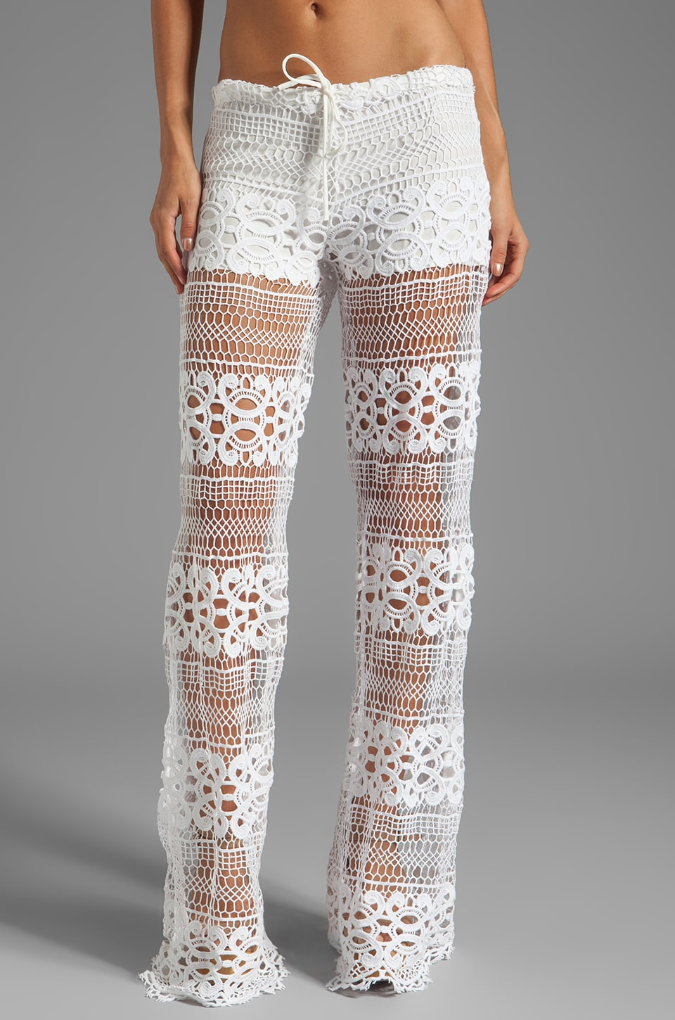 Alexis Michela Lace Pant With Drawstring in White Crochet