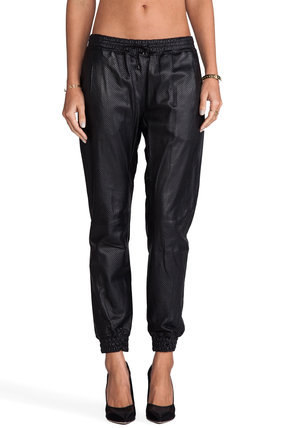 Alexis Cober Leather Track Pant in Lazer Black