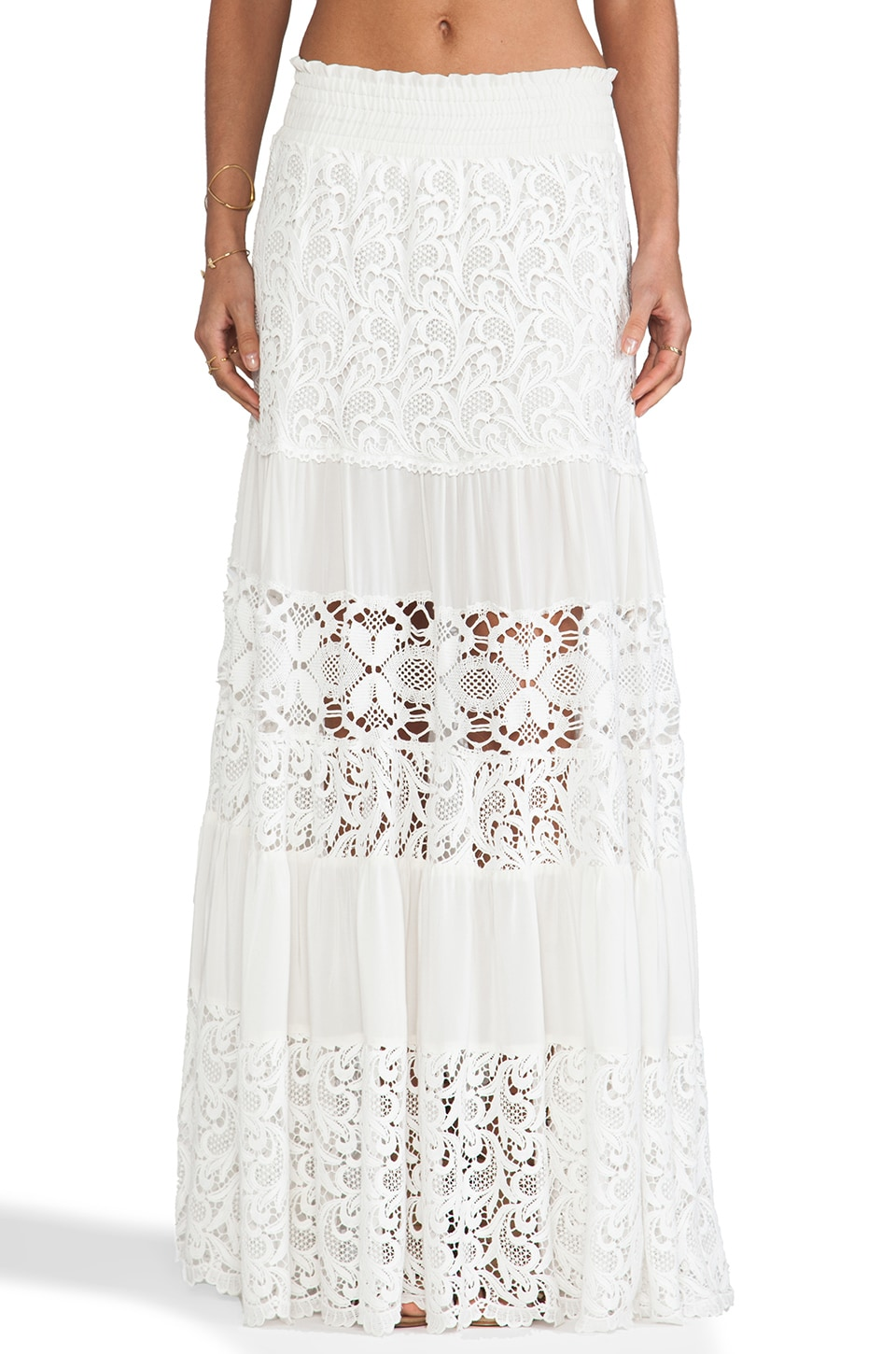 Alexis Liu Maxi Skirt in White Crochet