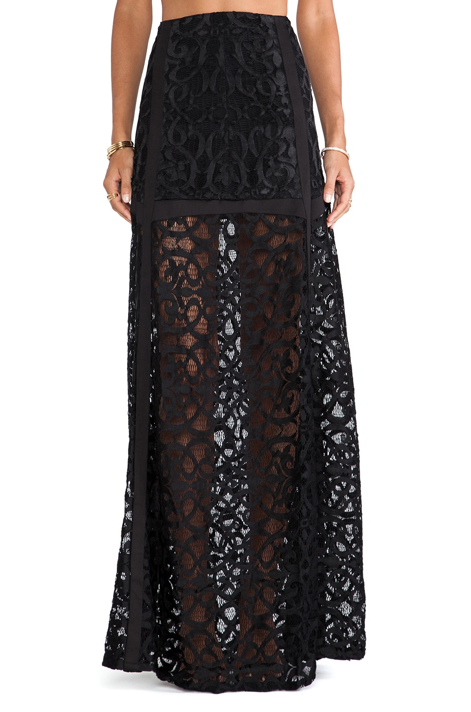 Alexis Krefeld Lace Maxi Skirt in Lurid Black