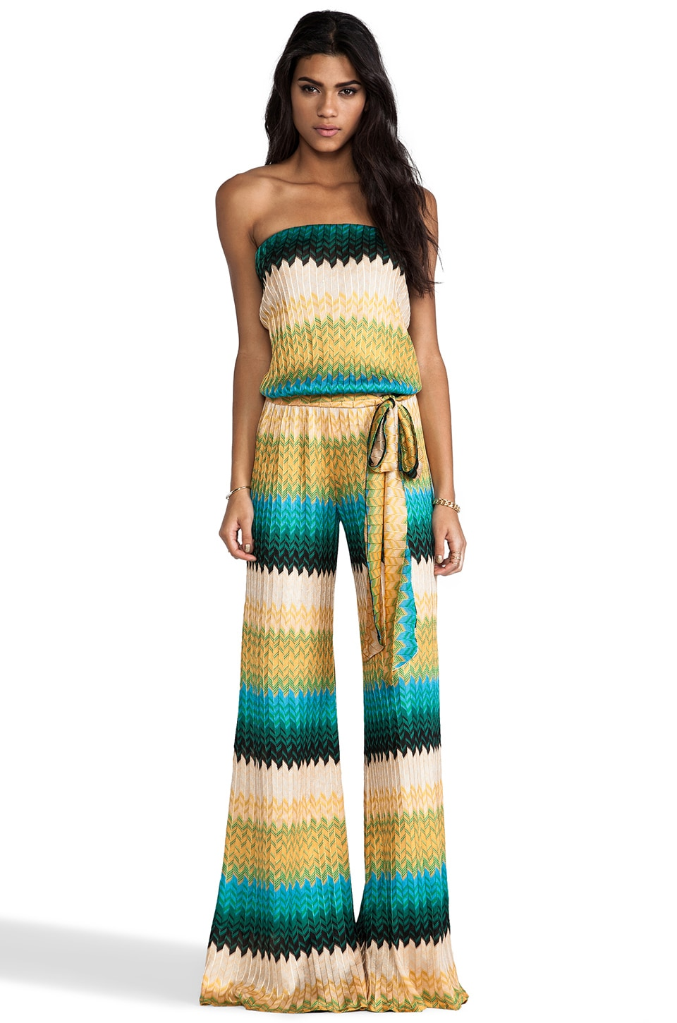 Alexis Lola Strapless Jumpsuit in Geometric Knit