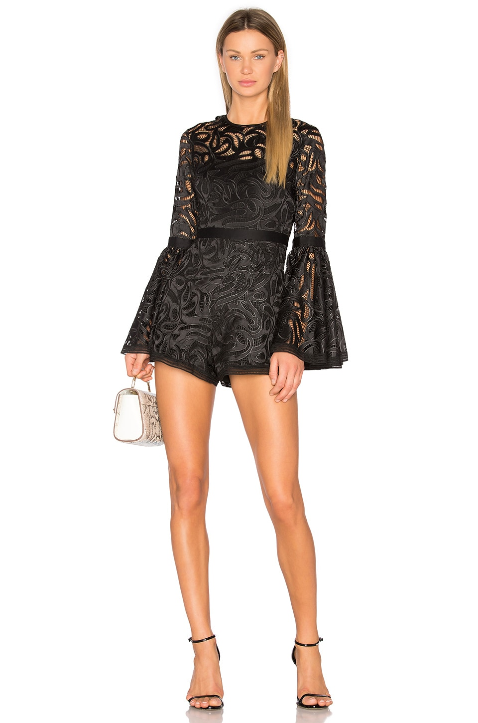 Alexis Rihanne Romper in Black Lace