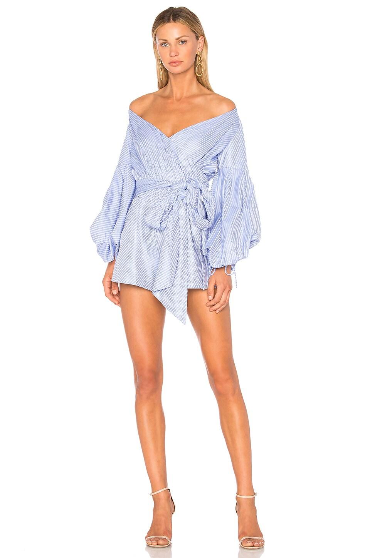 Alexis Ciel Romper in Blue Cotton Jacquard