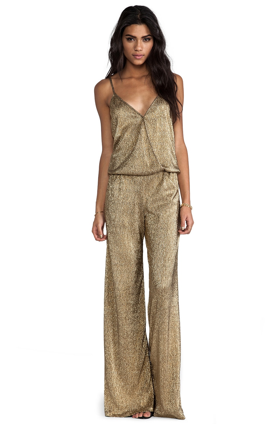 Alexis Vander Cross-Over Jumpsuit in Gold Foil