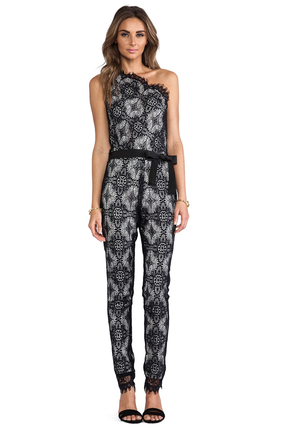 Alexis Blanchett One Shoulder Jumpsuit in Black Crochet