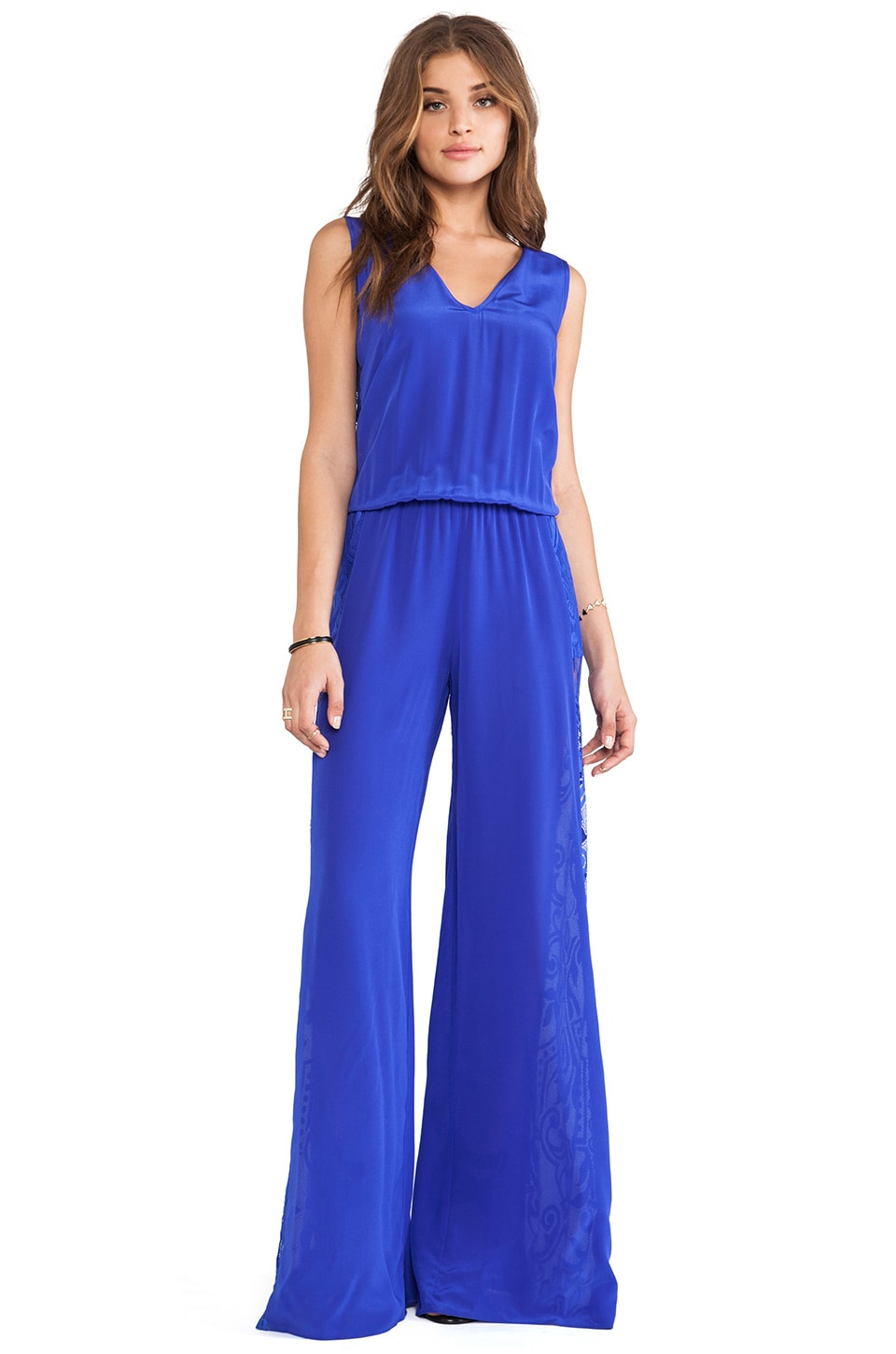 Alexis Lace Panel Jumpsuit in Cobalt Satine