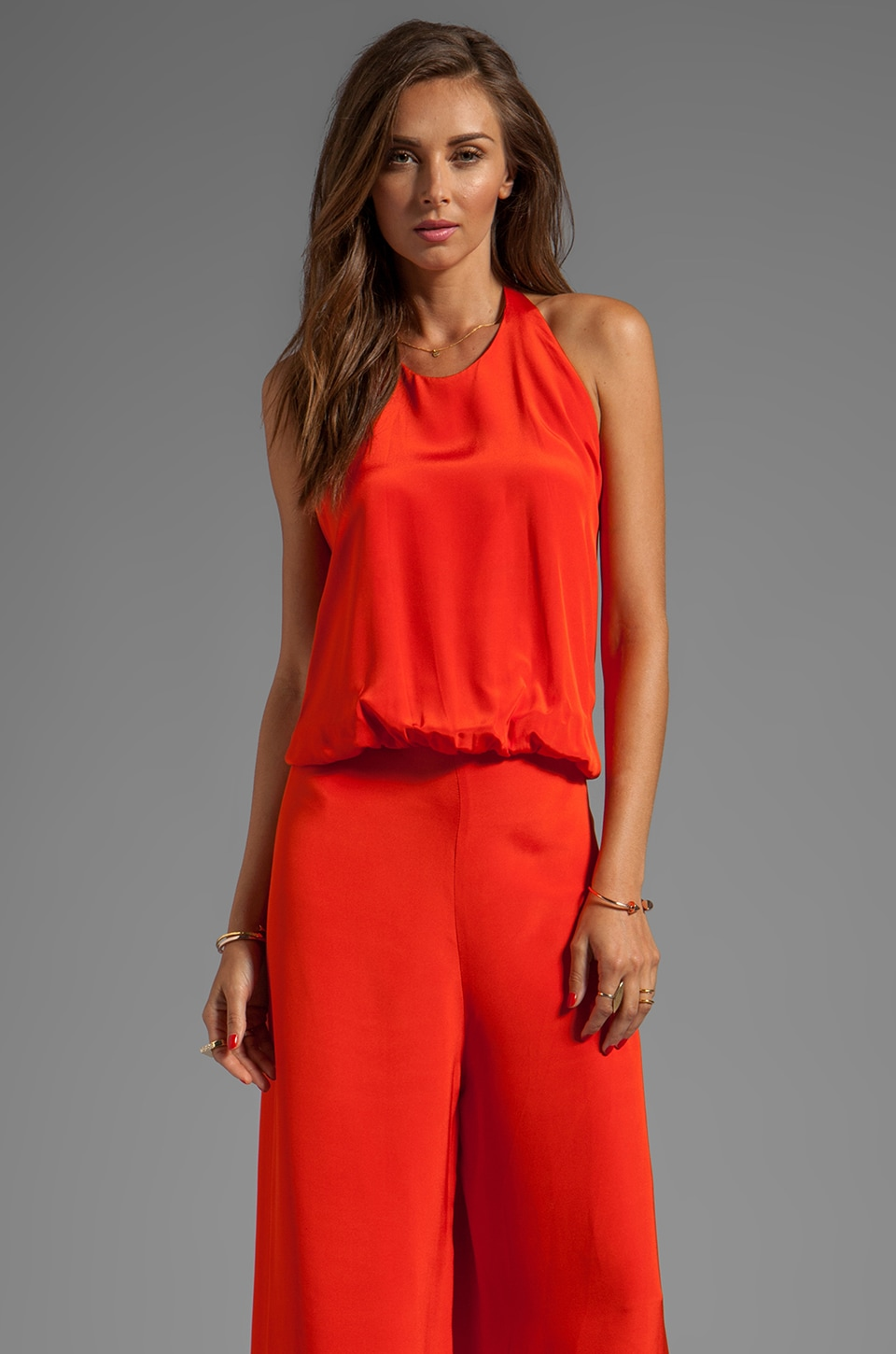 Alexis Cody Halter Jumpsuit in Red Orange