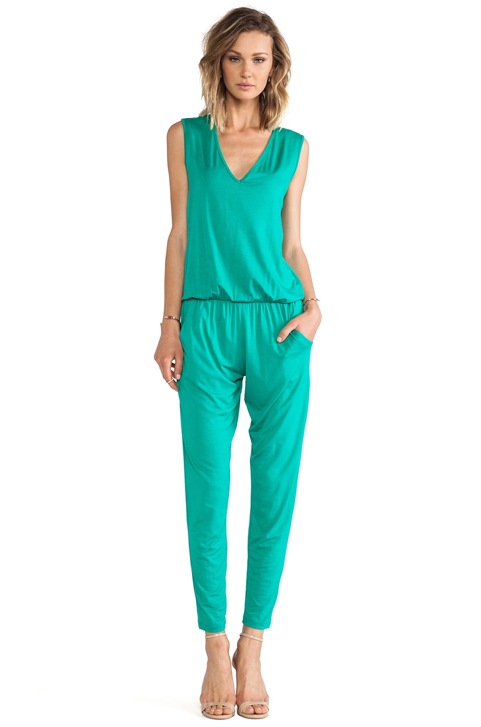 Alexis Judy V Neck Jumpsuit in Green
