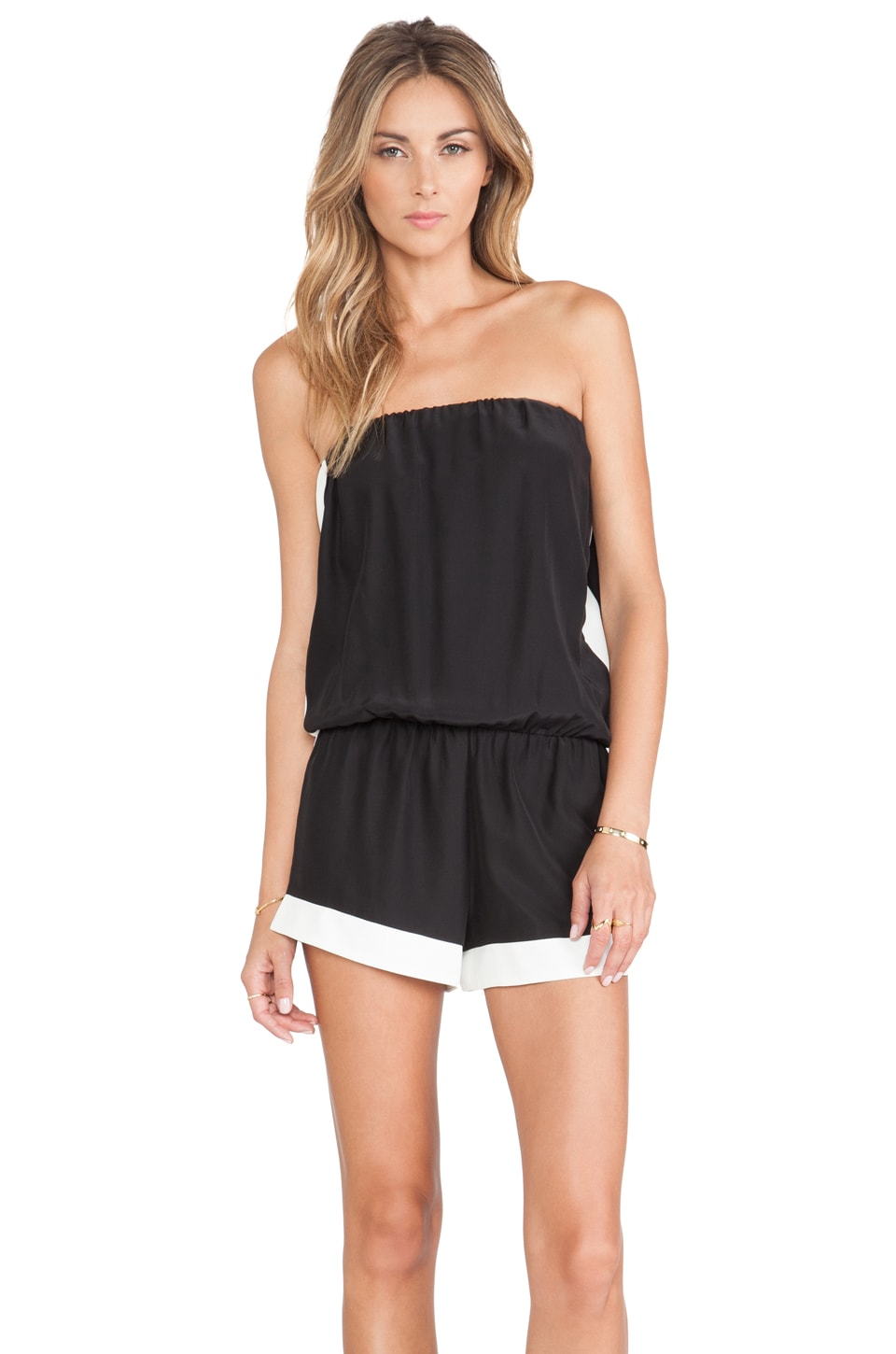 Alexis Linz Strapless Romper in Black White