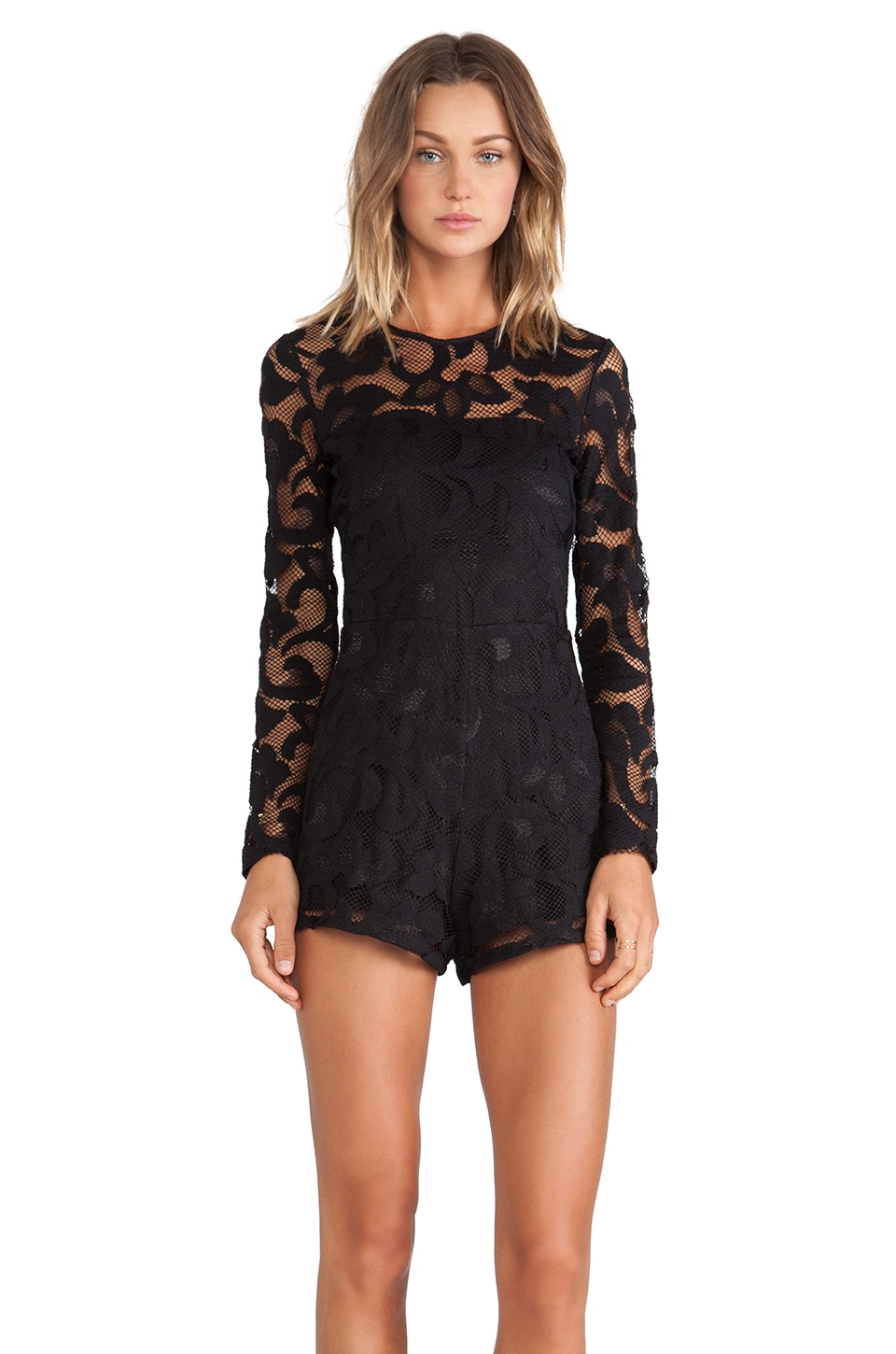 Alexis Montreuil Lace Romper in Black