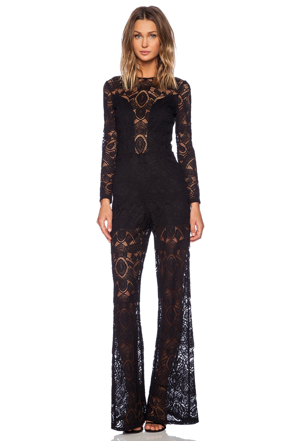 Alexis Asti Long Sleeve Jumpsuit in Black Lace