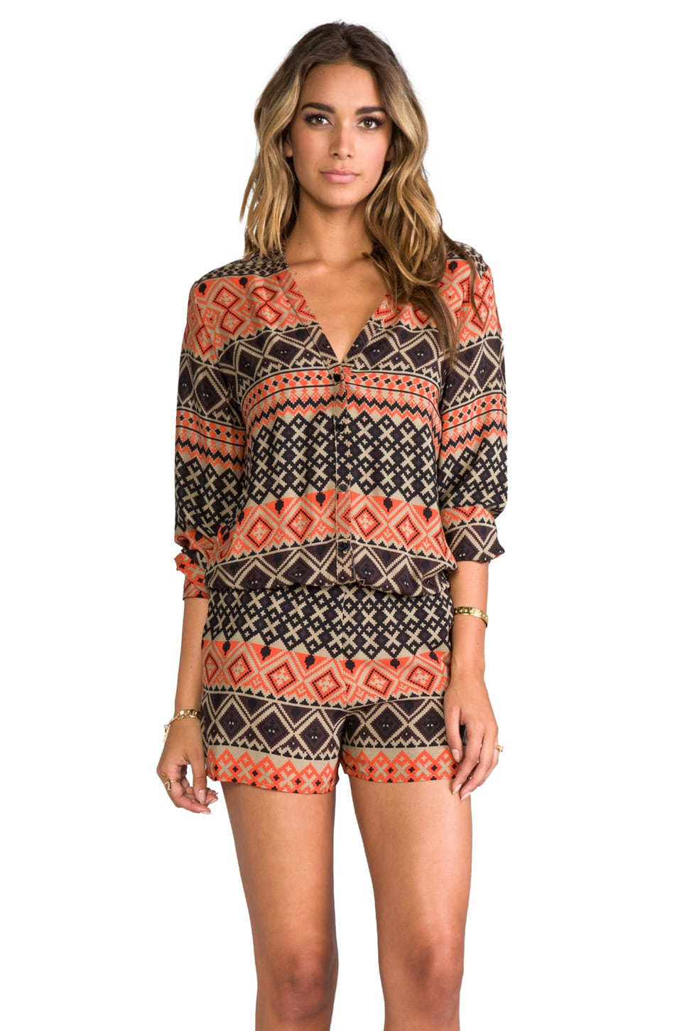 Alexis Jia Colarless Button Down Romper in Aztec Brown Print