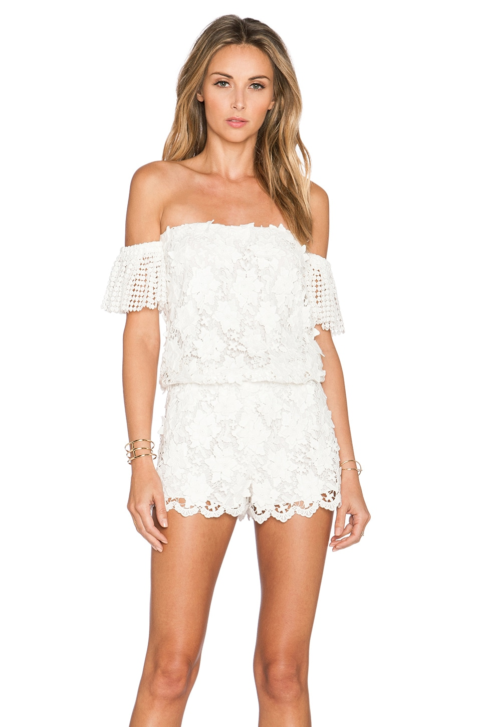 Alexis Kina Crochet Romper in White