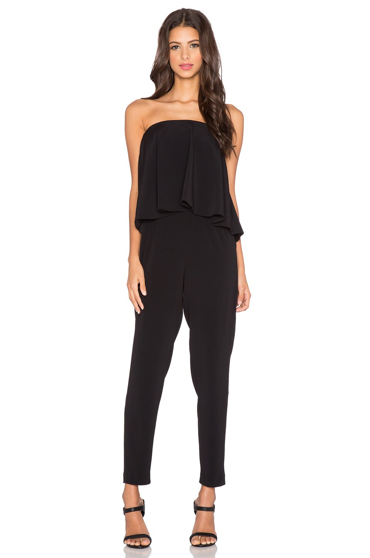 Alexis Esme Strapless Flounce Jumpsuit in Black