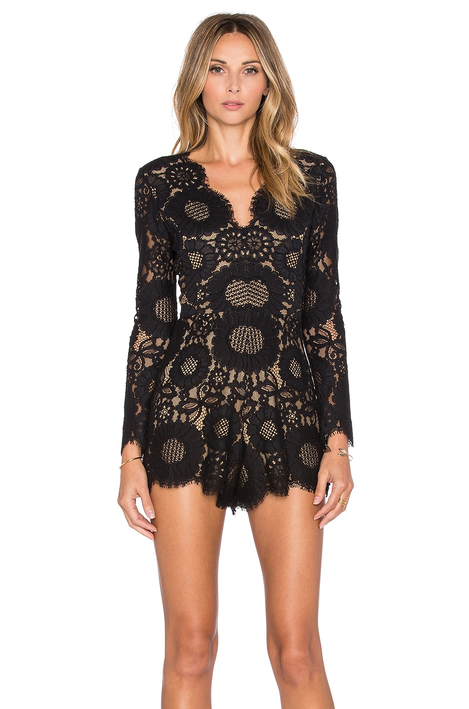 Alexis Ramzes Long Sleeve Scallop Romper in Black Lace