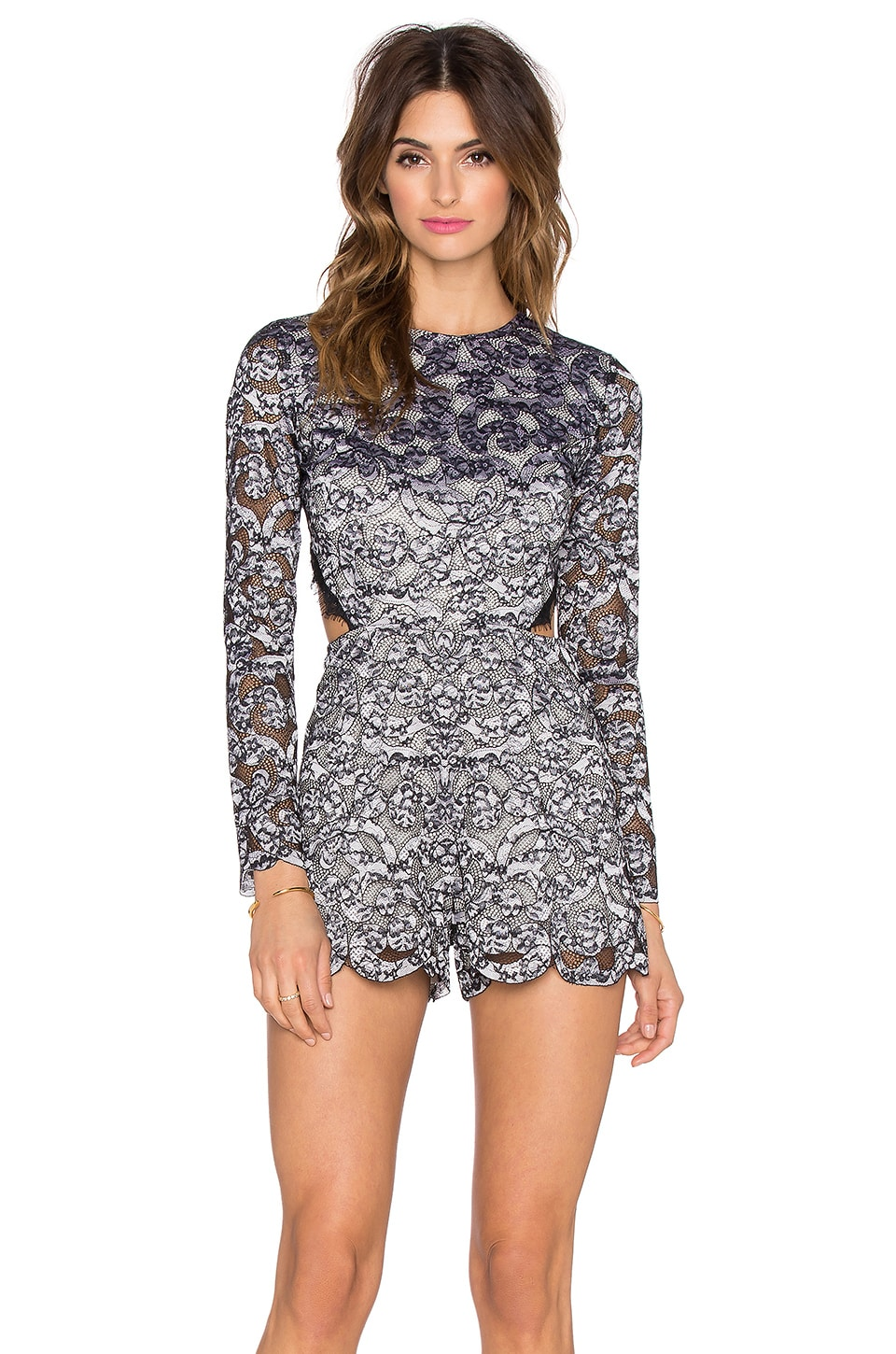 Alexis Deema Open Back Romper in Floral Lace