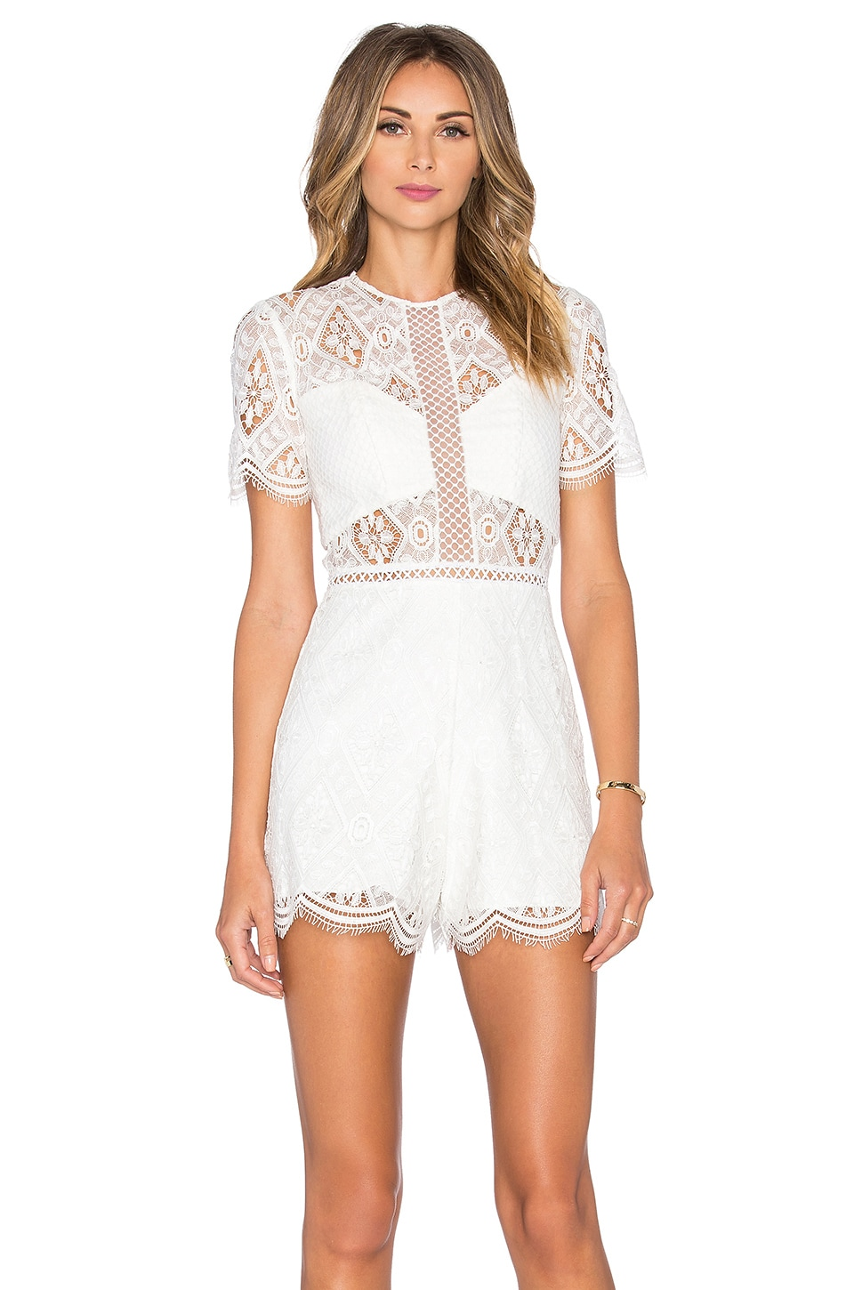 Alexis Brias Romper in Off White Lace