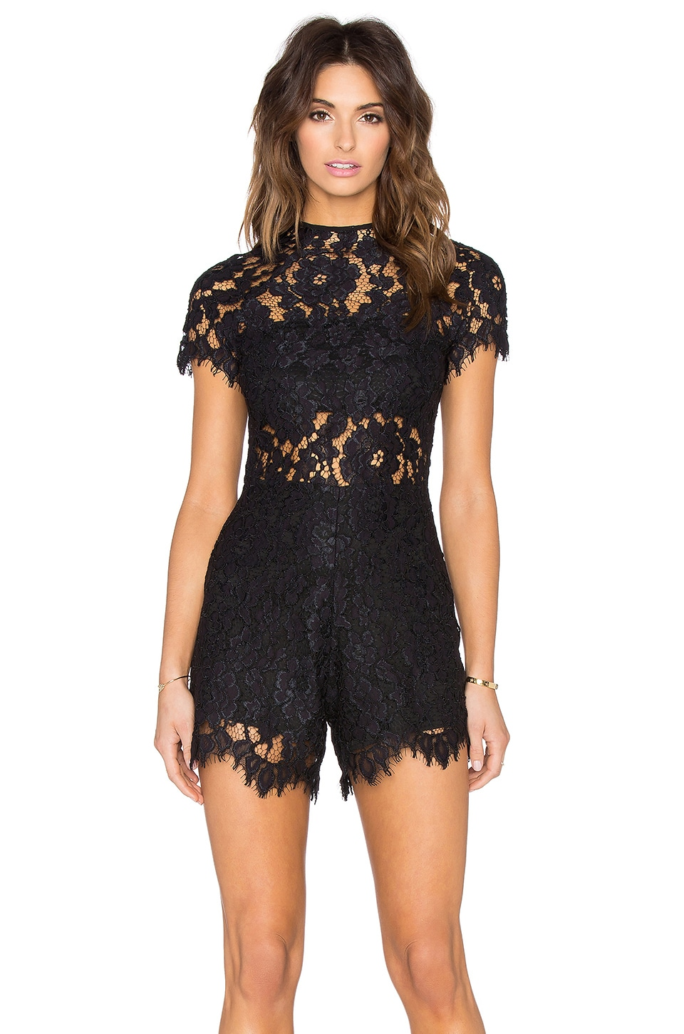 Alexis Lindsey Romper in Black Lace