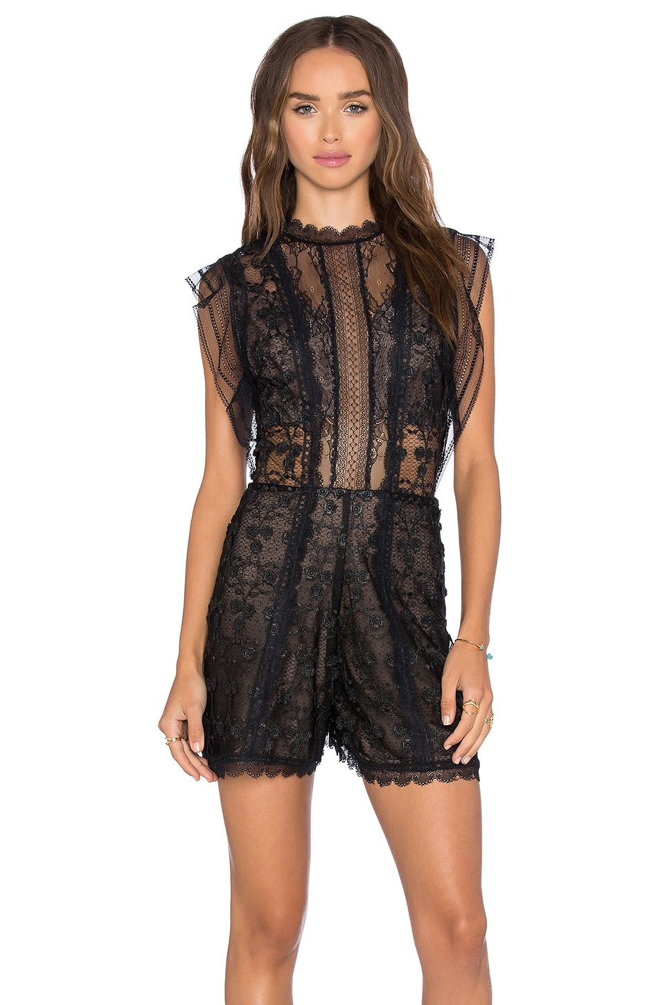Alexis Lowe Romper in Black Flower Embroidery