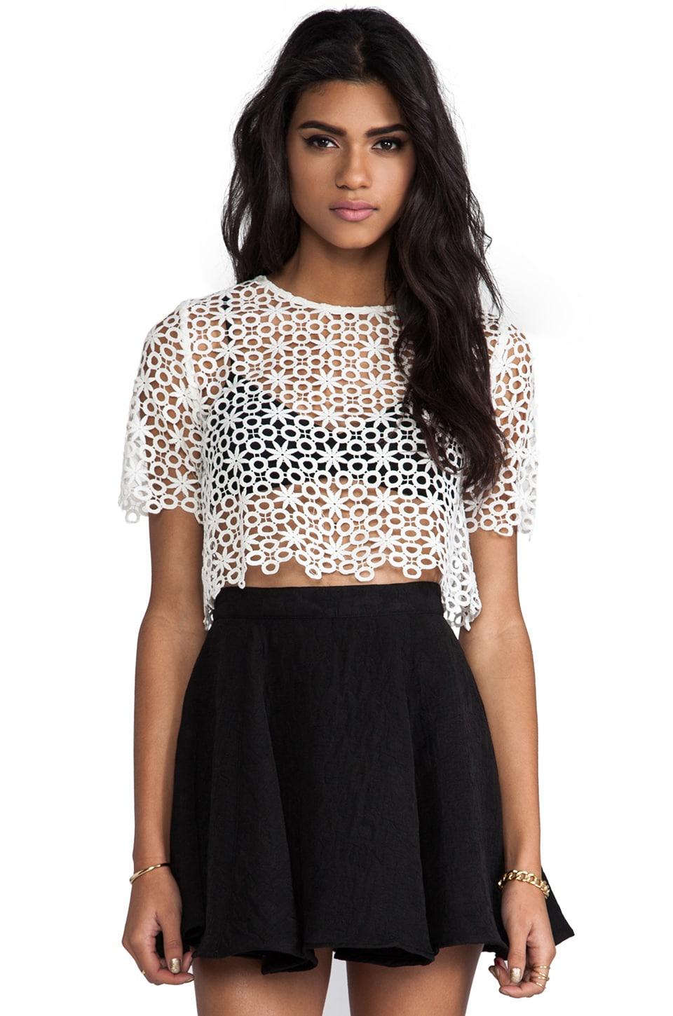 Alexis Lisette Crochet Crop Top in White Flower Crochet