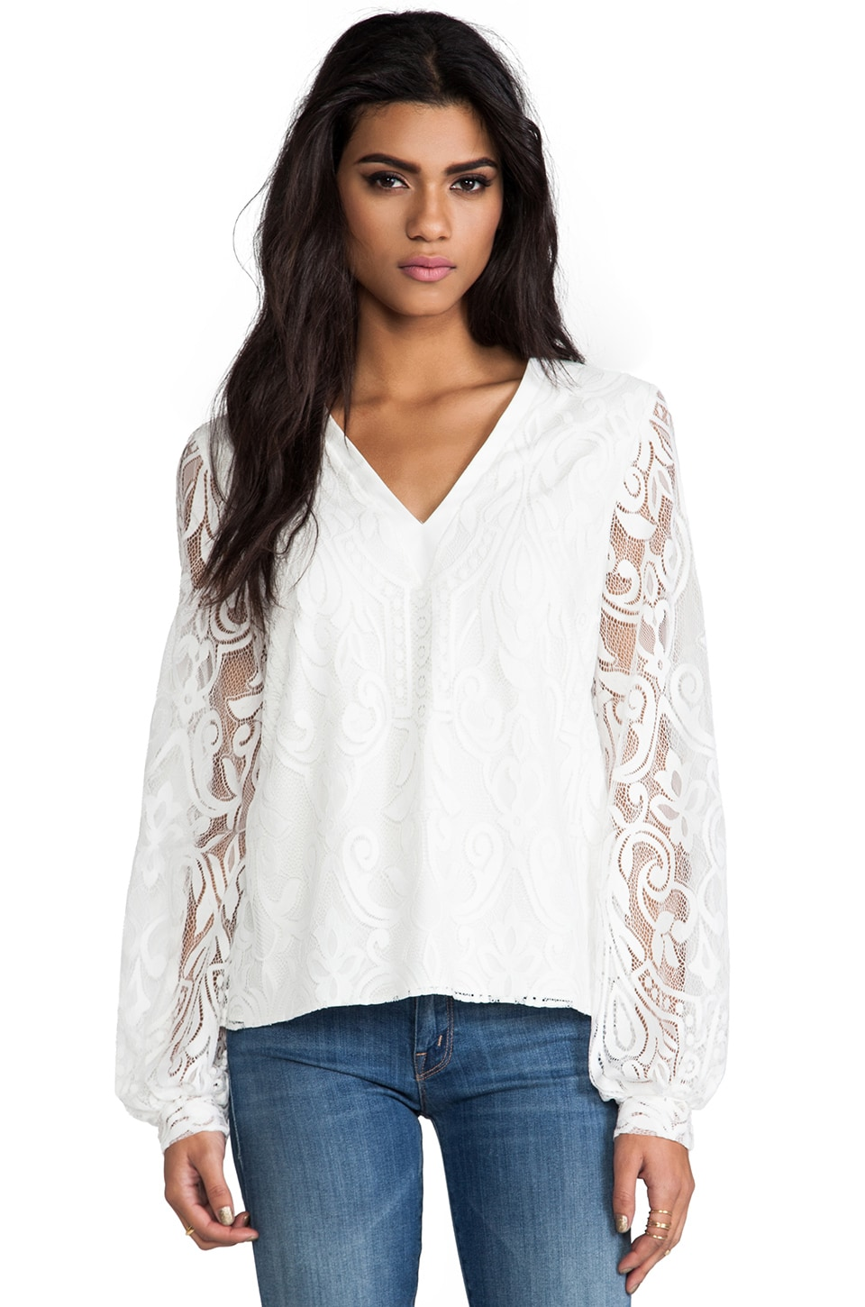 Alexis Florencia Lace Blouse in White Lace