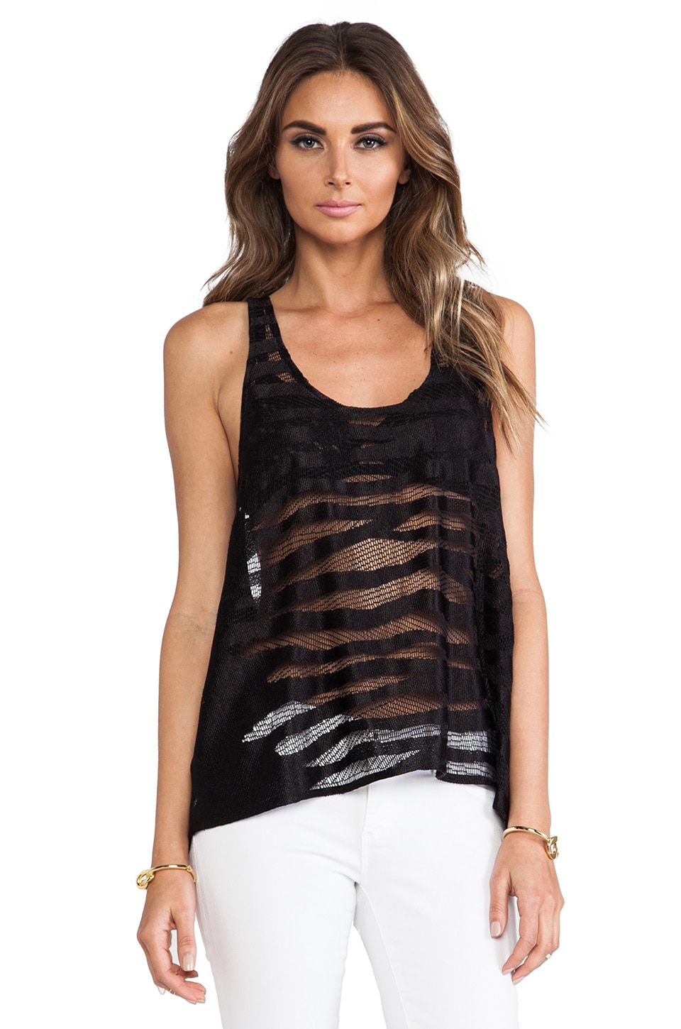 Alexis Brill Racerback Tank in Black Safari