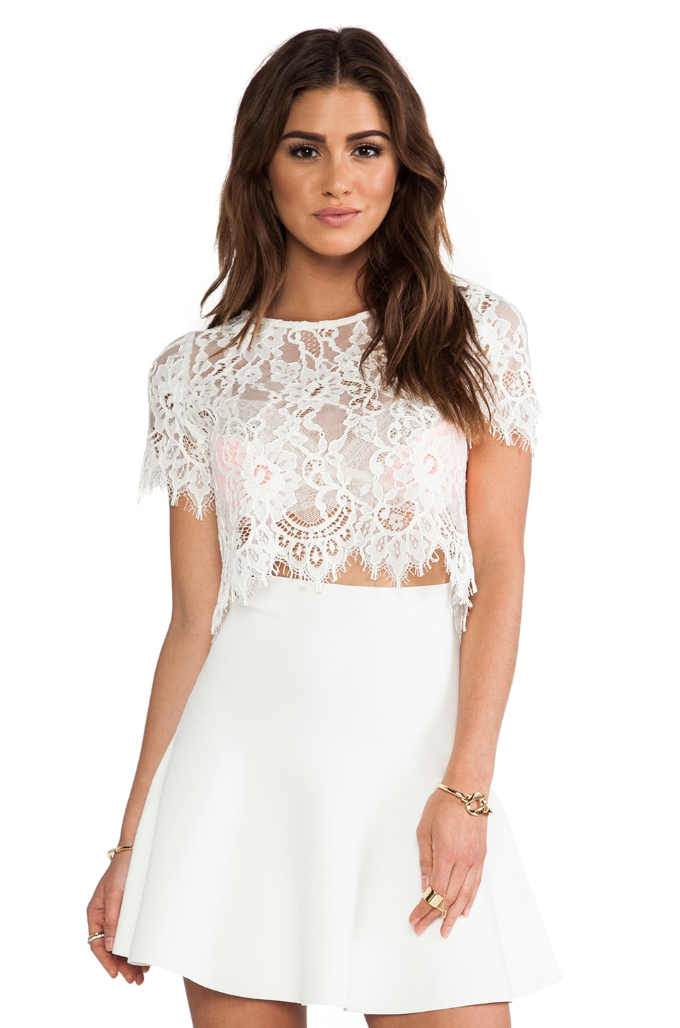 Alexis EXCLUSIVE Lisette Capped Sleeve Lace Crop Top in White