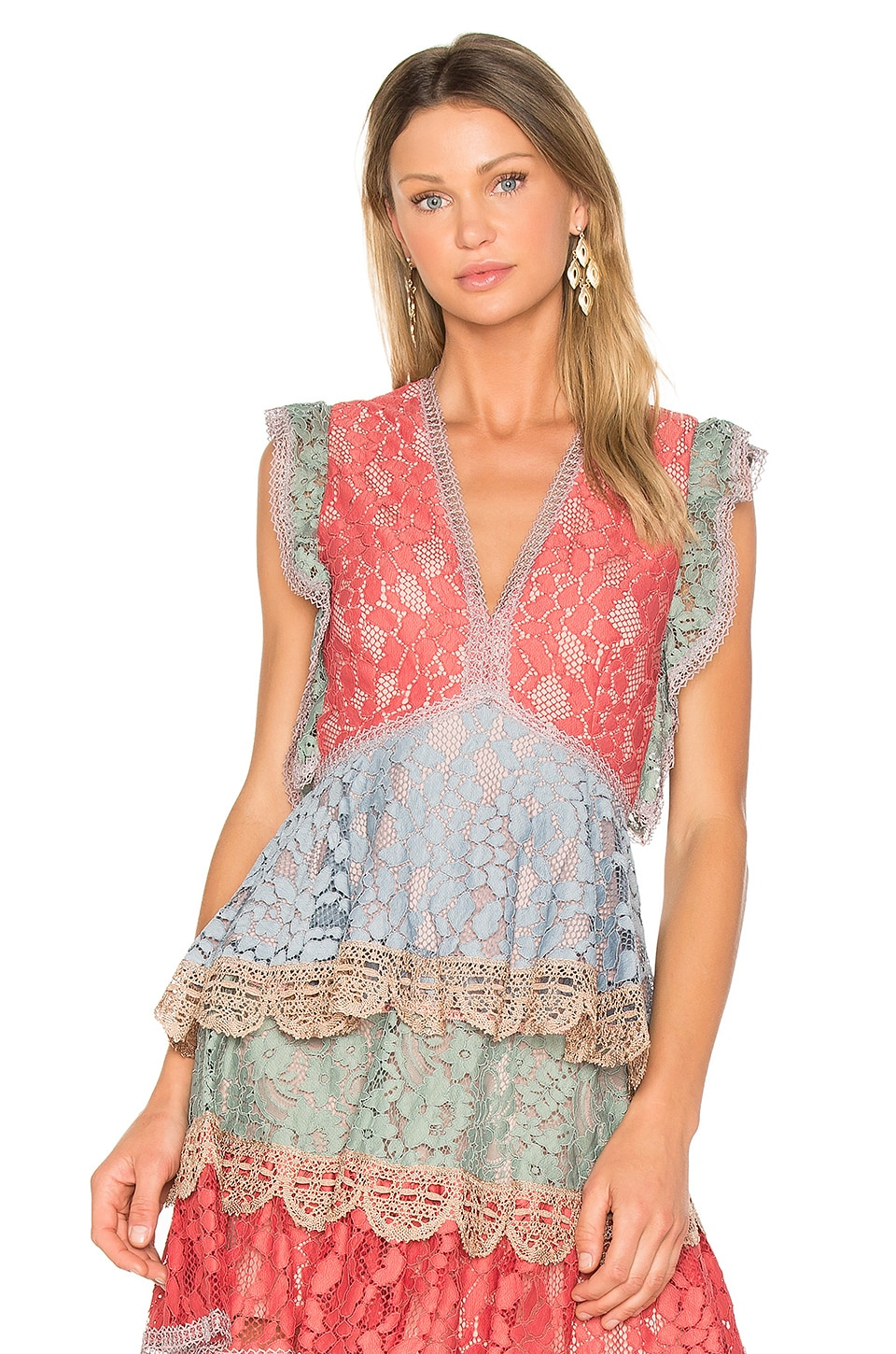 Alexis Kirk Top in Multicolor Lace