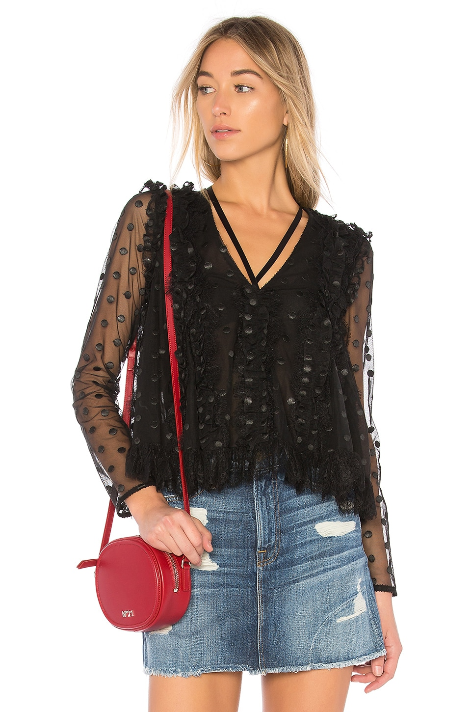 Alexis Clementine Blouse in Sheer Black Dot