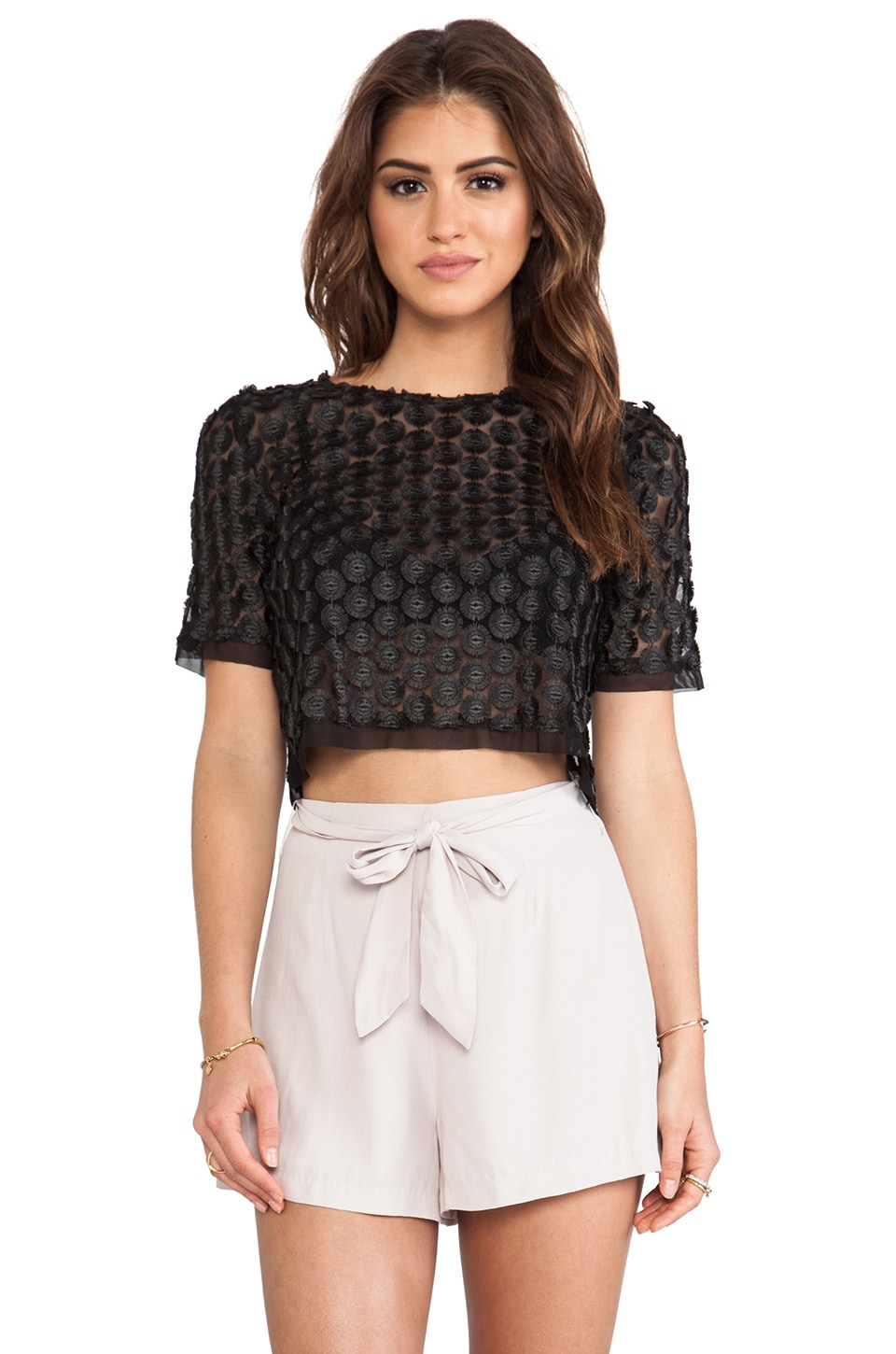 Alexis Lisette Capped Sleeve Lace Top in Black Dalia