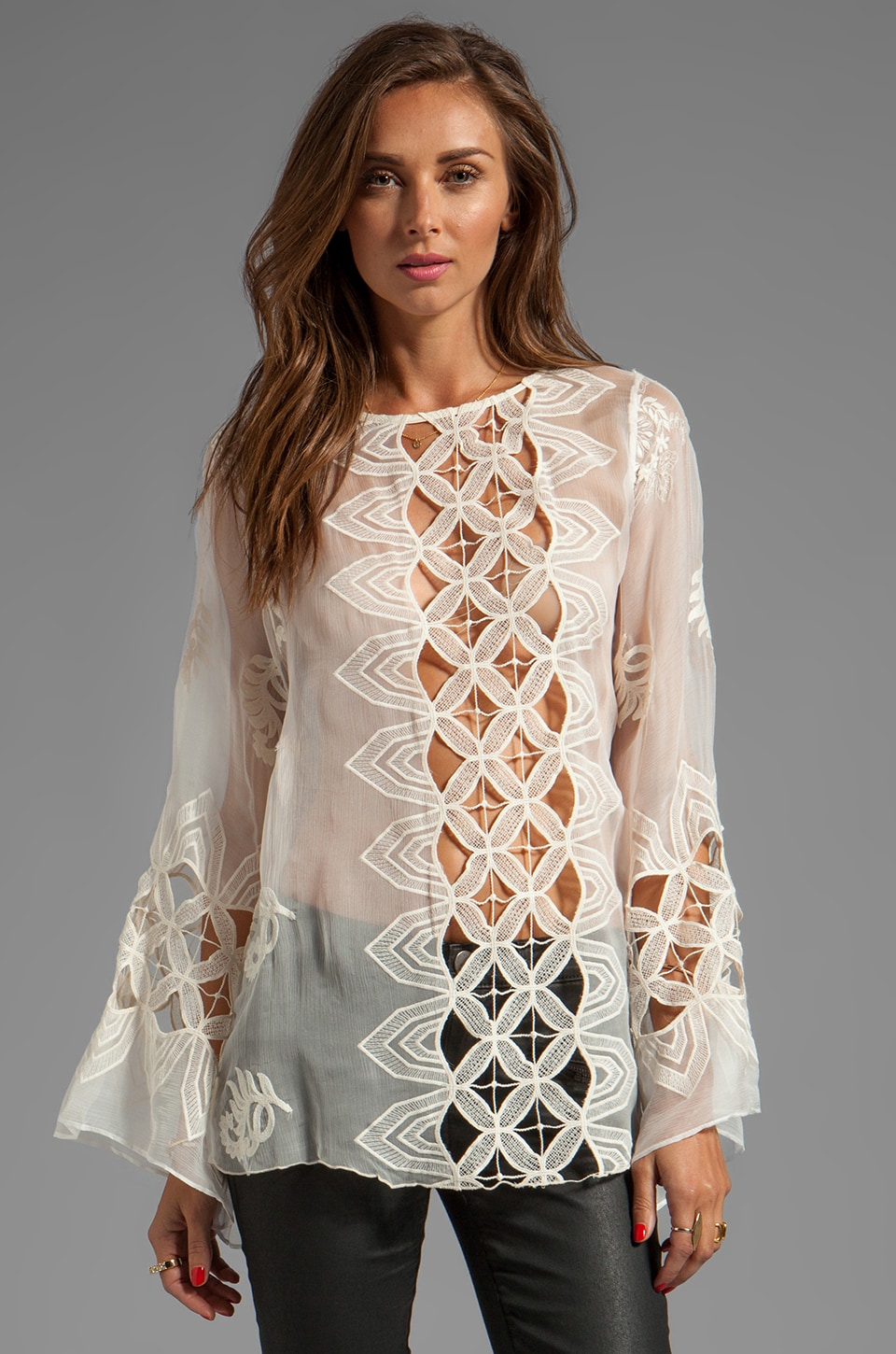 Alexis Aniko Silk Crochet Top in Cream Embroidery