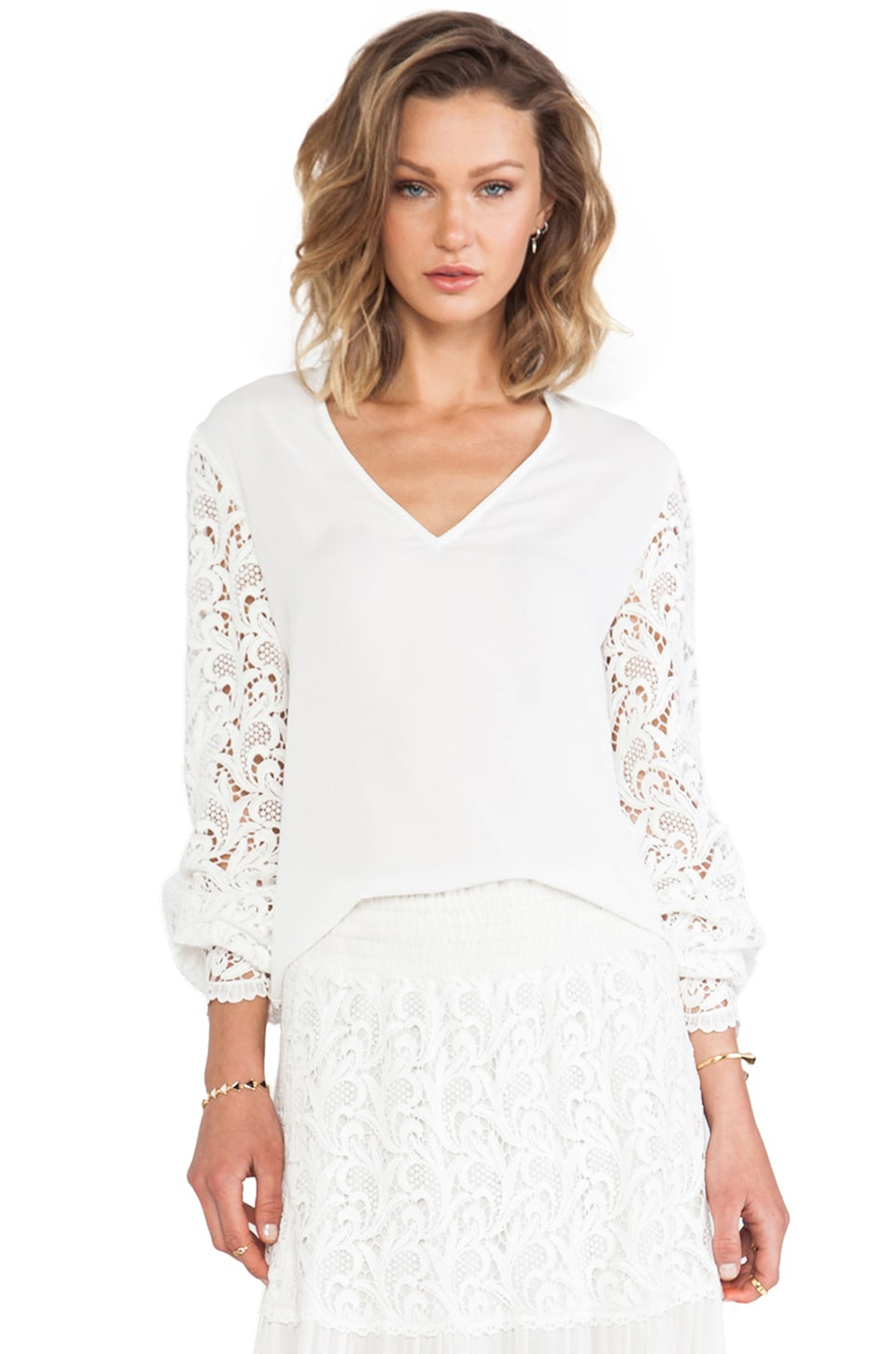 Alexis Dunn V Neck Crocheted Sleeve Top in White Crochet