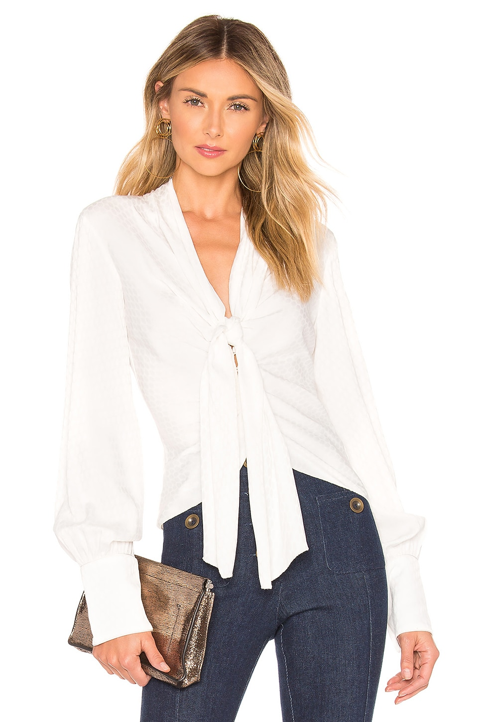 Alexis Dulani Top in Geo White Print