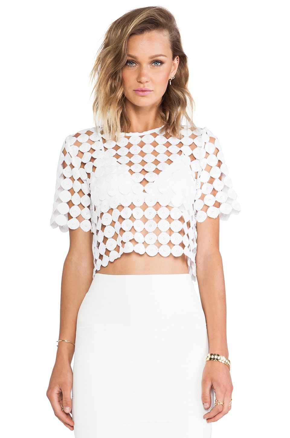 Alexis Lisette Crop Top in Dotted Crochet