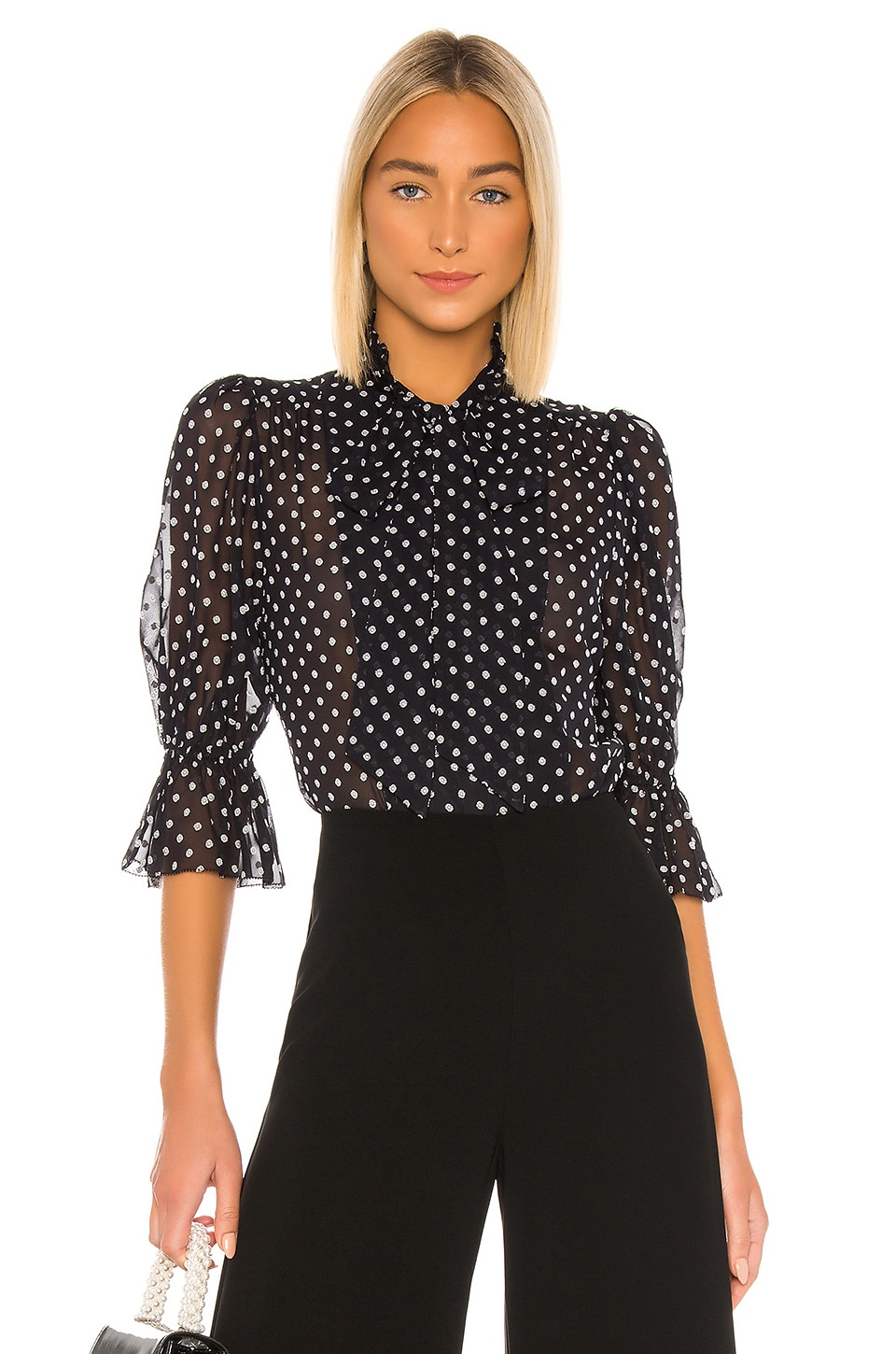 Alexis Calixte Top in Black Embroidered Dot