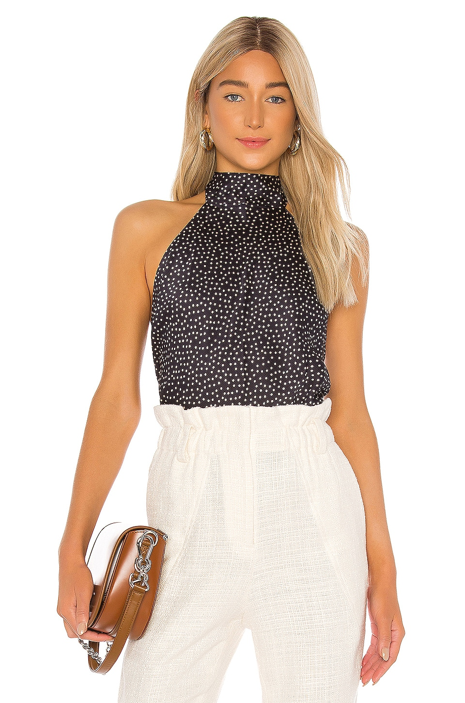 Alexis Vartan Top in Navy & Beige Dot
