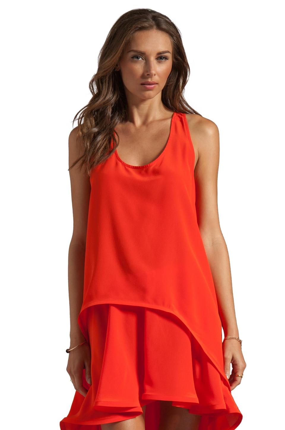 Alexis Ernesta High-Low Racer Back Top in Red Orange